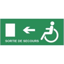 Autocollant évacuation sortie de secours handicapés