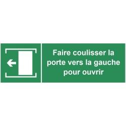 Autocollant faire coulisser la porte vers la gauche pour ouvrir