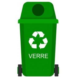 Autocollant poubelle recyclage verre