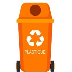 Autocollant poubelle recyclage plastique