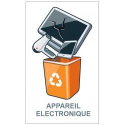 Autocollant poubelle recyclage appareil électronique