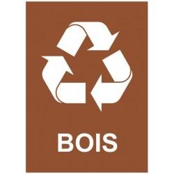 Autocollant poubelle recyclage bois