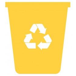 Panneau poubelle jaune