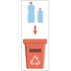 Panneau poubelle recyclage plastique