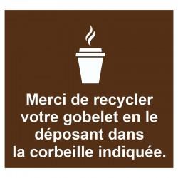Autocollant incitation recyclage gobelet