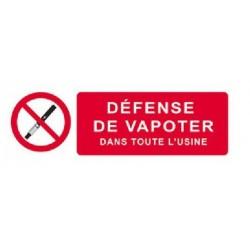 Panneau ou autocollant défense de vapoter dans toute l'usine