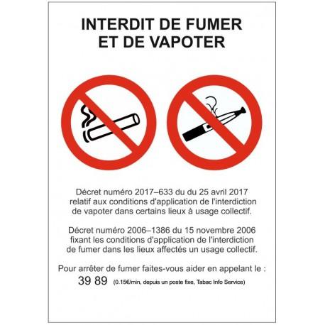 Panneau ou autocollant interdit de fumer et de vapoter