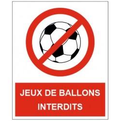 Panneau ou autocollant ballons interdiction de jouer au ballon