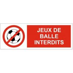 Panneau ou autocollant jeux de balle interdits