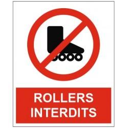 Panneau ou autocollant rollers interdits