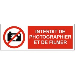 Panneau ou autocollant interdiction de photographier et de filmer