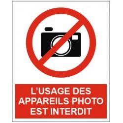 Panneau ou autocollant l'usage des appareils photo est interdit