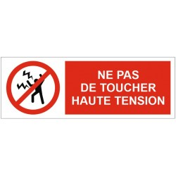 Panneau ou autocollant interdiction de toucher haute tension