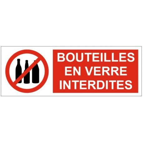 Panneau ou autocollant bouteilles en verre interdites