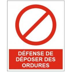 Panneau ou autocollant défense de déposer des encombrants sous peine d'amande