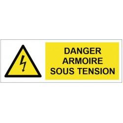 Panneau ou autocollant danger armoire sous tension