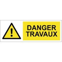 Panneau ou autocollant danger travaux