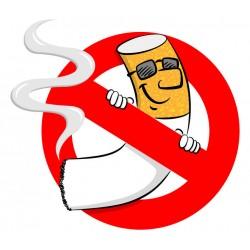 Panneau ou autocollant non fumeur humouristique