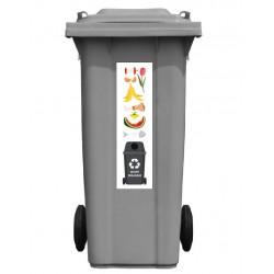 Autocollant poubelle recyclage déchet organique