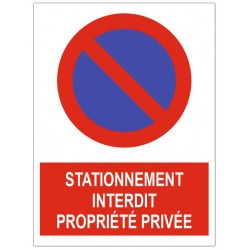 Panneau stationnement interdit proprieté privée