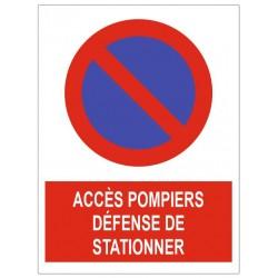 Panneau accès pompiers défense stationner