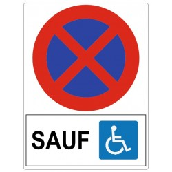 Panneau interdit sauf handicapés