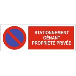 Panneau stationnement génant propriété privée