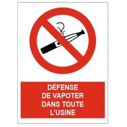 Panneau défense de fumer dans toute l'usine