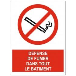 Panneau défense de fumer dans tout le batiment