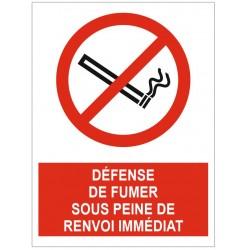 Panneau défense de fumer sous peine de renvoi immédiat
