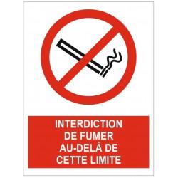 Panneau interdiction de fumer au delà de cette limite