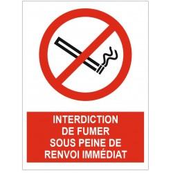 Panneau interdiction de fumer sous peine de renvoi immédiat