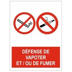 Panneau défense de vapoter et/ou de fumer