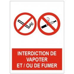 Panneau interdiction de vapoter et/ou de fumer