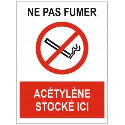 Panneau ne pas fumer acétylène stocké ici