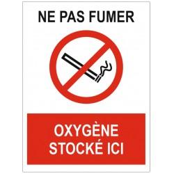 Panneau ne pas fumer oxygène stocké ici