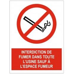 Panneau interdiction de fumer dans toute l'entreprise sauf espace fumeur