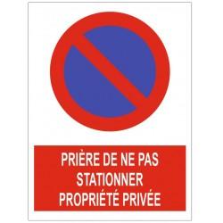 Panneau prière de ne pas stationner parking privé