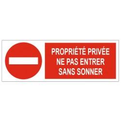 Panneau propriété privée ne pas entrer sans sonner