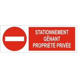 Panneau stationnement gênant propriété privée
