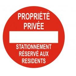 Panneau propriété privée stationnement réservé aux résidents