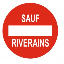 Panneau propriété privée sauf riverains