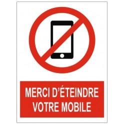 Panneau merci d'éteindre votre mobile