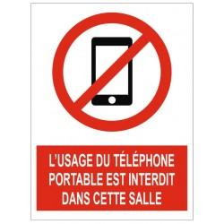 Panneau l'usage du téléphone portable interdit dans cette salle