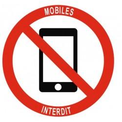 Panneau téléphone mobiles interdits