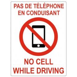 Panneau pas de téléphone en conduisant