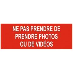Panneau ne pas prendre de photos ou de vidéos