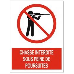 Panneau chasse interdite sous peine de poursuites
