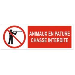 Panneau animaux en pâture chasse interdite