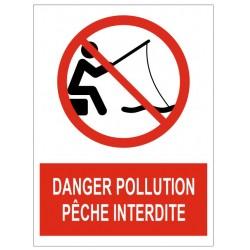 Panneau danger pollution pêche interdite